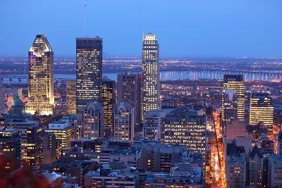 Montreal Skyline by Night. Dusk Cityscape Image of Montreal Downtown, Quebec, Canada.-Maridav-Photographic Print