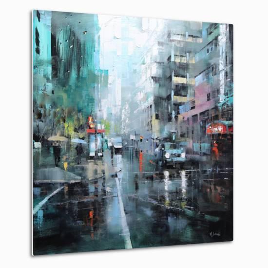 Montreal Turquoise Rain-Mark Lague-Metal Print
