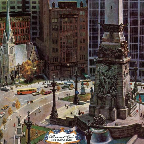 """Monument Circle,"" October 28, 1961-John Falter-Premium Giclee Print"