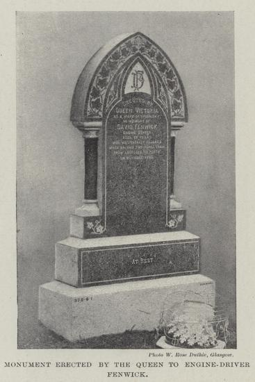 Monument Erected by the Queen to Engine-Driver Fenwick--Giclee Print