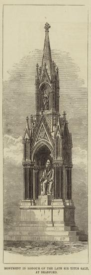 Monument in Honour of the Late Sir Titus Salt, at Bradford--Giclee Print