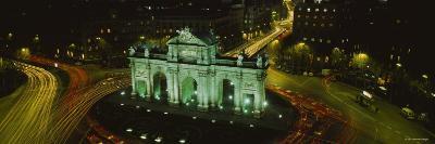 Monument Lit Up at Night, Puerta de Alcala, Plaza de la Independencia, Madrid, Spain--Photographic Print