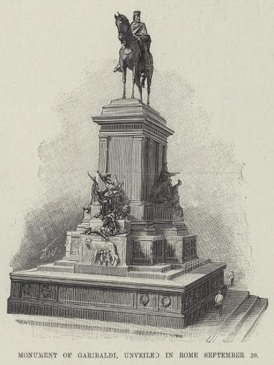Monument of Garibaldi, Unveiled in Rome 20 September--Giclee Print