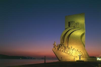 Monument to Discoveries, 1960, on Bank of Tagus River, Night View, Belem District, Portugal, Detail--Photographic Print