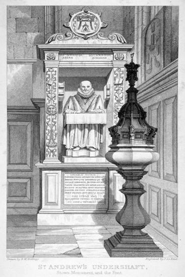 Monument to John Stow and Font in St Andrew Undershaft, 1837-John Le Keux-Giclee Print