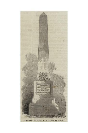 Monument to Lieutenant H E Baines at Quebec--Giclee Print