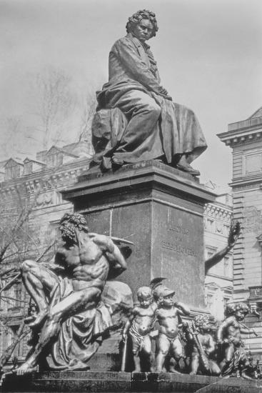 Monument to Ludwig Van Beethoven, the Composer Seated on a Pedestal Above Figures Alluding to the?--Photographic Print