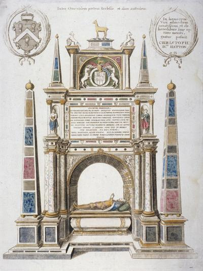 Monument to Sir Christopher Hatton in Old St Paul's Cathedral, City of London, 1656-Wenceslaus Hollar-Giclee Print