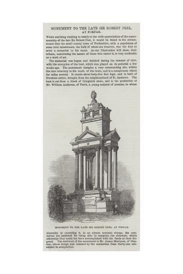 Monument to the Late Sir Robert Peel, at Forfar--Giclee Print