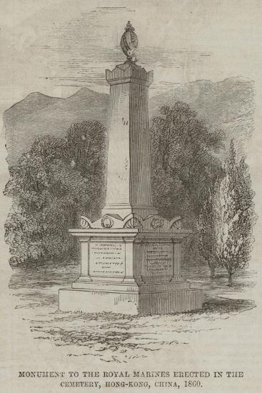 Monument to the Royal Marines Erected in the Cemetery, Hong-Kong, China, 1860--Giclee Print