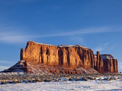 Monument Valley in the Snow, Monument Valley Navajo Tribal Park, Arizona, USA-Walter Bibikow-Photographic Print