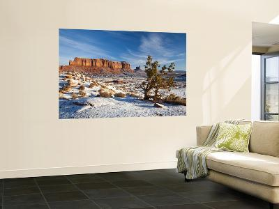 Monument Valley in the Snow, Monument Valley Navajo Tribal Park, Arizona, USA-Walter Bibikow-Wall Mural