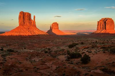 Monument Valley under the Blue Sky at Sunset-lucky-photographer-Photographic Print