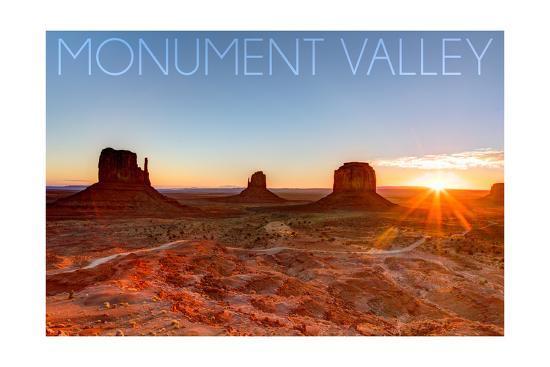 Monument Valley, Utah - Three Peeks and Sun-Lantern Press-Art Print