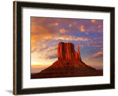 Monument Valley West Mitten at Sunset Colorful Sky Utah-Natureworld-Framed Photographic Print