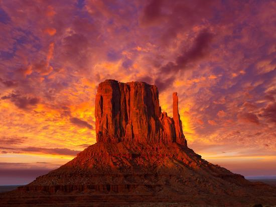 Monument Valley West Mitten at Sunset Sky-Lunamarina-Photographic Print