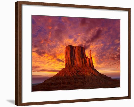 Monument Valley West Mitten at Sunset Sky-Lunamarina-Framed Photographic Print