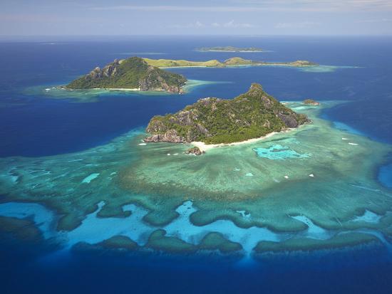 Monuriki Island and Coral Reef, Mamanuca Islands, Fiji-David Wall-Photographic Print