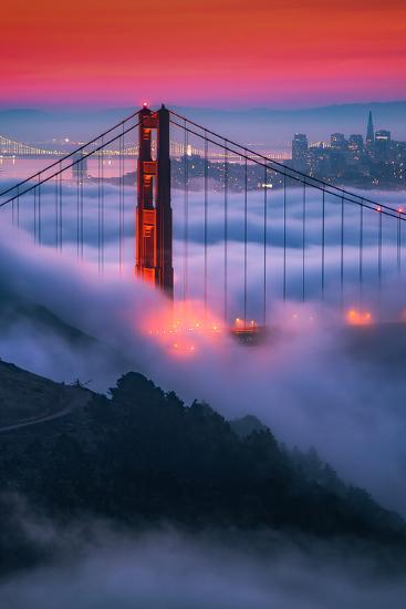 Moody Candy Morning Fog Golden Gate Bridge, San Francisco California Travel-Vincent James-Photographic Print