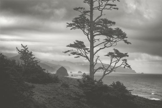 Moody Cannon Beach, Black and White, Oregon Coast-Vincent James-Photographic Print
