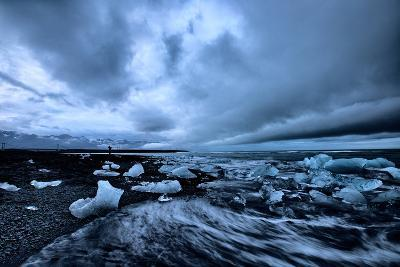 Moody Ice Beach, Glacier Lagoon at Midnight, Iceland-Vincent James-Photographic Print