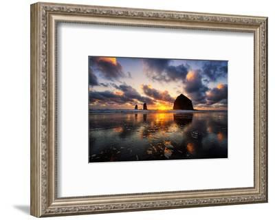 Moody Sunset at Cannon Beach, Oregon Coast-Vincent James-Framed Photographic Print