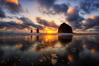 Moody Sunset at Cannon Beach, Oregon Coast-Vincent James-Photographic Print