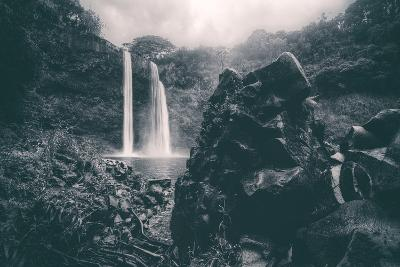 Moody Wailua Falls in Black and White, Kauai Hawaii-Vincent James-Photographic Print