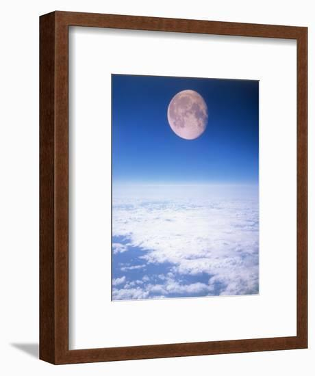 Moon Above the Clouds-Terry Why-Framed Photographic Print