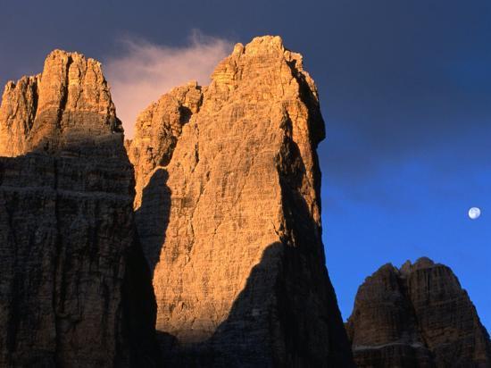 Moon Above Tre Cimo Di Lavaredo at Dawn, Dolomiti Di Sesto Natural Park, Trentino-Alto-Adige, Italy-Grant Dixon-Photographic Print