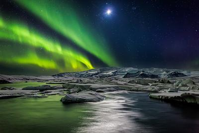 Moon and Aurora Borealis, Northern Lights with the Moon Illuminating the Skies and Icebergs--Photographic Print