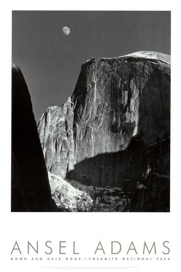 Moon and Half Dome, Yosemite National Park, 1960-Ansel Adams-Art Print