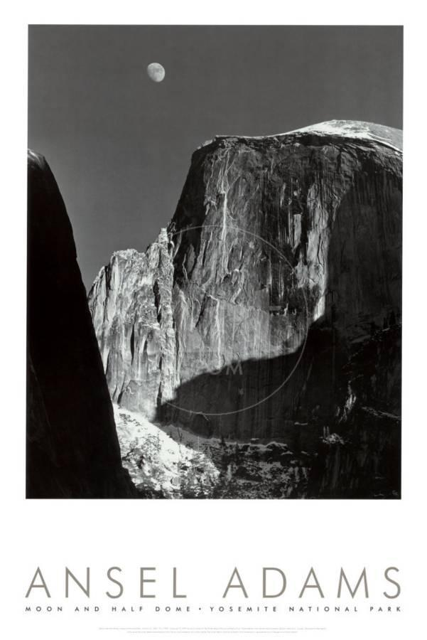Moon and half dome yosemite national park 1960 art print by ansel adams the new art com