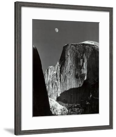 Moon and Half Dome, Yosemite National Park, 1960-Ansel Adams-Framed Art Print