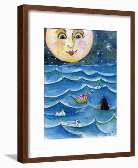 Moon Face Mermaid in The Sea-sylvia pimental-Framed Art Print