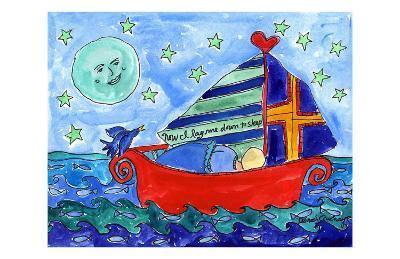 Moon Fish and Star Sailing-Deborah Cavenaugh-Art Print