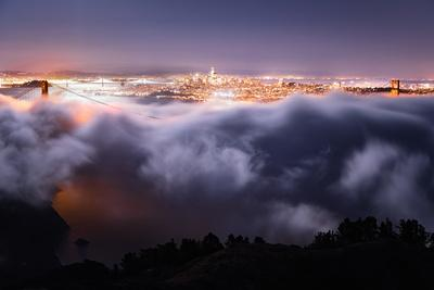 Moon Fog Wave San Francisco Skline at Night Golden Gate Bridge-Vincent James-Photographic Print