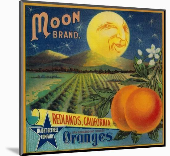 Moon Orange Label - Redlands, CA-Lantern Press-Mounted Print