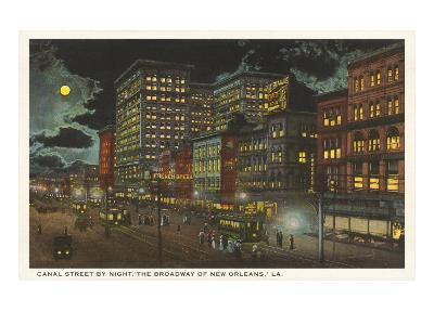 Moon over Canal Street, New Orleans, Louisiana--Art Print