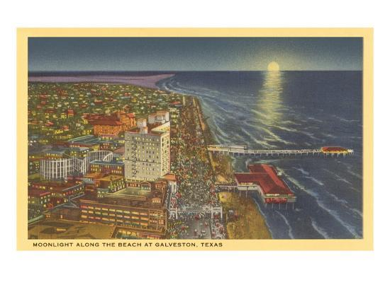 Moon over Galveston, Texas--Art Print