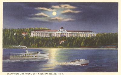 Moon over Grand Hotel, Mackinac Island, Michigan