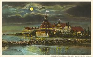Moon over Hotel del Ccronado, San Diego, California