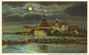 Moon over Hotel del Coronado, San Diego, California