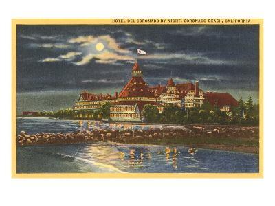 Moon over Hotel del Coronado, San Diego, California--Art Print