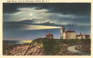 Moon over Lighthouse, Watch Hill, Rhode Island