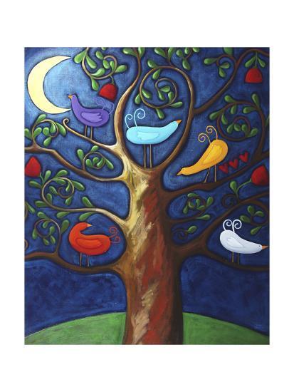Moon over Lovebirds Family-Sara Catena-Giclee Print