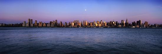 Moon over Midtown Manhattan Skyline at Dusk-Design Pics Inc-Photographic Print