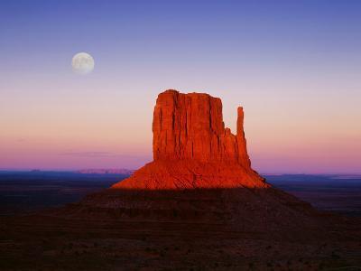 Moon Over Monument Valley, Arizona-Peter Walton-Photographic Print