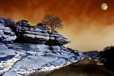 Moon over Road across El Torcal, Antequera, Malaga Province, Andalucia, Spain--Photographic Print