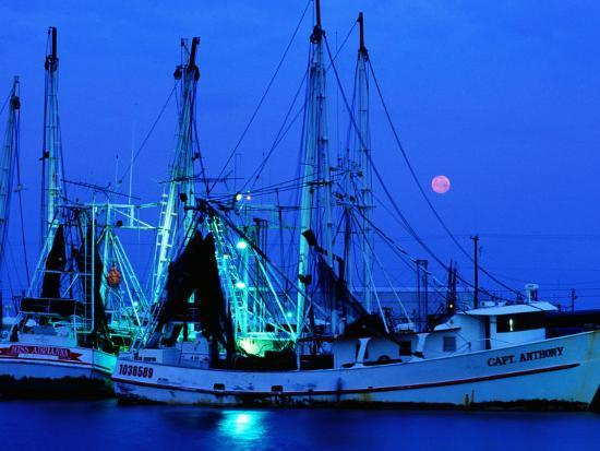 Moon over Shrimp Trawlers in Harbour, Palacios, Texas-Holger Leue-Photographic Print